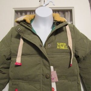 Girls Puffy Army Green Jacket with Removable Hood